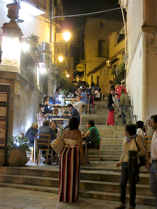 Sicily.....Nighttime Pizza Crowd, Scicli